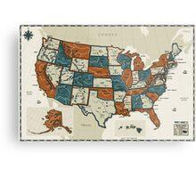 USA - Vintage Effect Map Metal Print