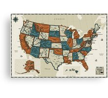 USA - Vintage Effect Map Canvas Print
