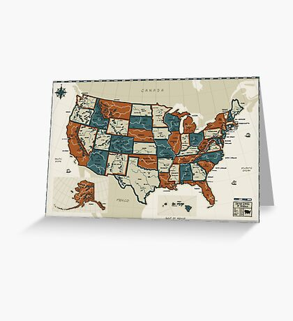 USA - Vintage Effect Map Greeting Card