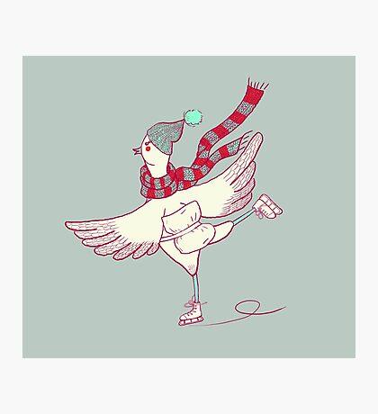 Winter skating chicken Photographic Print