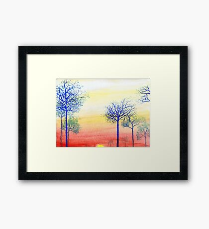 Sunset with Blue Trees Framed Print