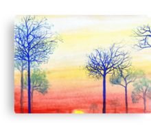 Sunset with Blue Trees Canvas Print