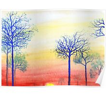 Sunset with Blue Trees Poster