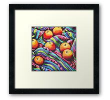 Fruit on Striped Cloth Framed Print
