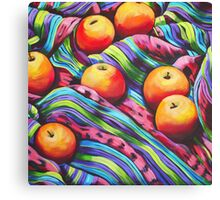 Fruit on Striped Cloth Canvas Print