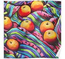 Fruit on Striped Cloth Poster
