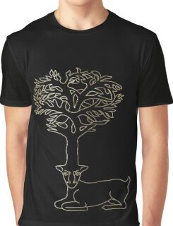 deer with horns in form of Celtic symbol tree, gold on black Graphic T-Shirt