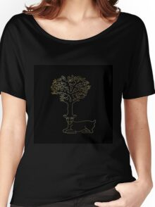 deer with horns in form of Celtic symbol tree, gold on black Women's Relaxed Fit T-Shirt
