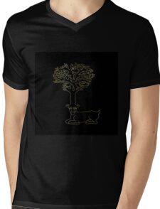 deer with horns in form of Celtic symbol tree, gold on black Mens V-Neck T-Shirt