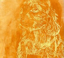 """""""Golden Puppy"""" (monochromatic hue series) by Mui-Ling Teh"""