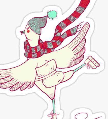 Winter skating chicken Sticker
