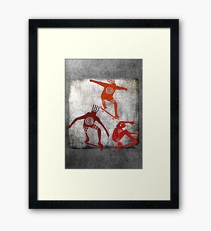 Skateboard Petroglyph Framed Print