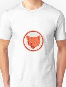Red Fox Head Front Circle Retro Unisex T-Shirt