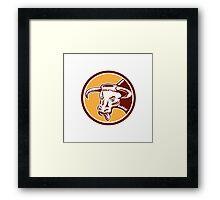 Angry Texas Longhorn Bull Head Woodcut Framed Print
