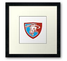 Angry Texas Longhorn Bull Head Shield Woodcut Framed Print