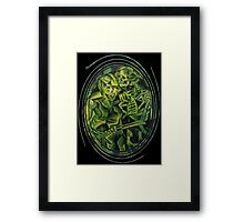 A Skeleton Embracing A Zombie Halloween Horror Framed Print