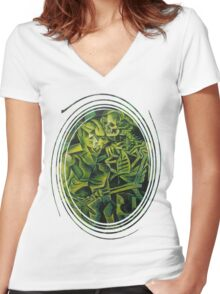 A Skeleton Embracing A Zombie Halloween Horror Women's Fitted V-Neck T-Shirt