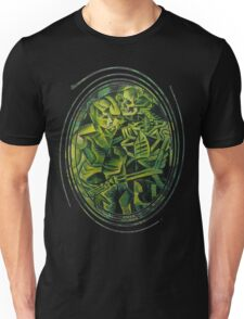 A Skeleton Embracing A Zombie Halloween Horror Unisex T-Shirt