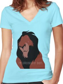 The Lion King - I'm Surrounded By Idiots - Scar Women's Fitted V-Neck T-Shirt