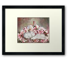 Easter Surprise - Bunnies And Roses Framed Print