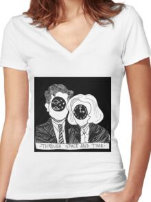 Through Space and Time Women's Fitted V-Neck T-Shirt