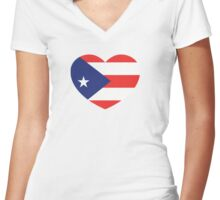 Puerto Rico Heart and Love Women's Fitted V-Neck T-Shirt