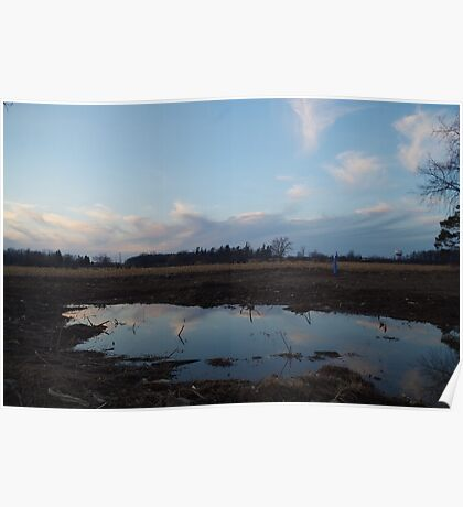 Puddle clouds Poster