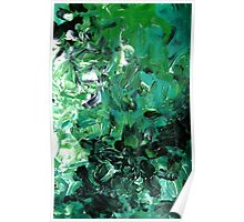 Canopy Green and Black Modern Abstract Tree Art Poster