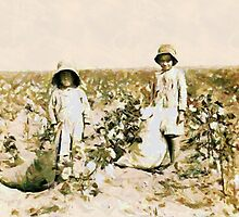 Jewel and Harold Walker, 6 and 5 years old Cotton Pickers, Comanche County, Oklahoma, USA by Dennis Melling