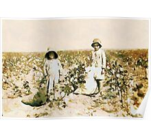 Jewel and Harold Walker, 6 and 5 years old Cotton Pickers, Comanche County, Oklahoma, USA Poster