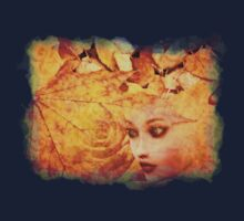 Autumn background and girl Baby Tee