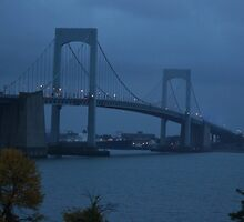 Before the Dawn on a Rainy Day at the Throgs Neck Bridge by Gilda Axelrod