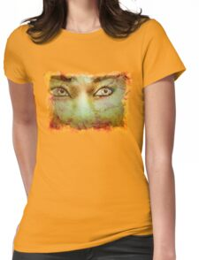 Autumn background and girl 2 Womens Fitted T-Shirt