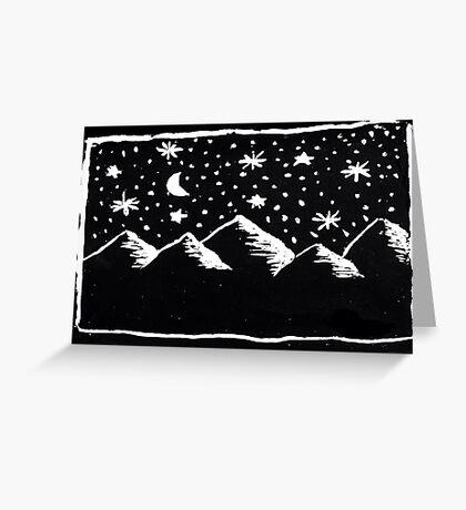 mountain range at night Greeting Card