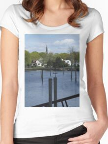 entering historic wickford village 2 Women's Fitted Scoop T-Shirt