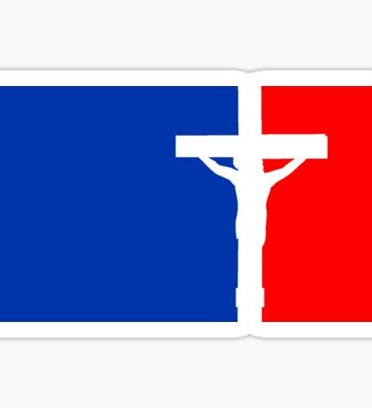rot blau sport button tot angenagelt kreuz symbol team crew freunde jesus christus cool logo design  Sticker