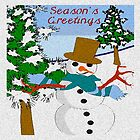 Christmas Seasons Greetings Snowman by deleas