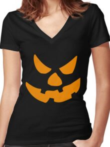 Evil Pumpkin Women's Fitted V-Neck T-Shirt