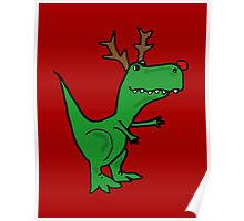 Cool Funny Christmas T Rex Dinosaur Poster