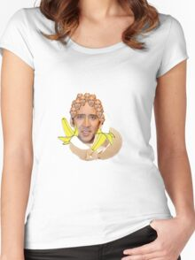 Nicolas Cage Egg Collage  Women's Fitted Scoop T-Shirt