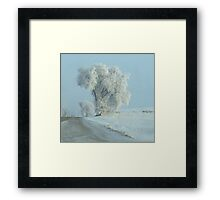 Winter Across The Intersection...On Freezeout Rd. !!!...One Basic Color. Monotone Beauty Challenge Winner ! Framed Print