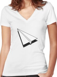 Paper Airplane 1 Women's Fitted V-Neck T-Shirt