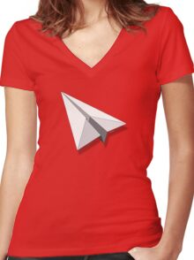 Paper Airplane 5 Women's Fitted V-Neck T-Shirt