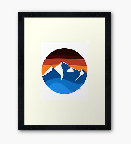 blue mountain orange sunset logo Framed Print
