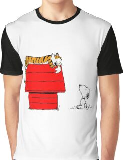 Geek Calvin And Hobbes Tiger Sleep On Doghouse Graphic T-Shirt