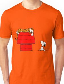 Geek Calvin And Hobbes Tiger Sleep On Doghouse Unisex T-Shirt