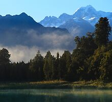 Early Morning at Lake Matheson New Zealand by Angelika  Vogel