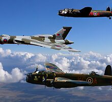Avro Vulcan and Lancasters by AviationPrints