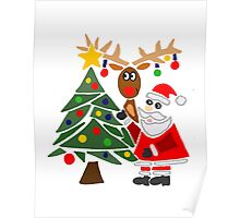 Cool Funny Mary and Chris Moose Christmas Poster