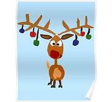 Cool Funny Rudolph Red Nosed Reindeer Christmas Poster